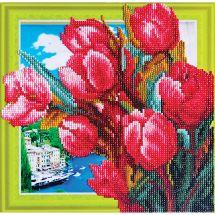 Supporto in cartoncino per ricamo diamante - RTO - Mazzo di tulipani