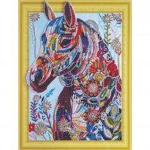 Supporto in cartoncino per ricamo diamante - RTO - Cavallo fiorito