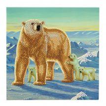 Carta con ricamo a diamante - Crystal Art D.I.Y - Famiglia degli orsi polari