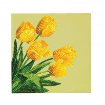 Carta con ricamo a diamante - Crystal Art D.I.Y - Tulipani di primavera