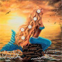 Carta con ricamo a diamante - Crystal Art D.I.Y - Sogni di sirena