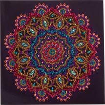 Carta con ricamo a diamante - Crystal Art D.I.Y - Mandala viola