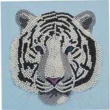 Carta con ricamo a diamante - Crystal Art D.I.Y - Tigre bianco