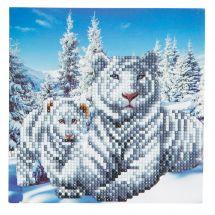 Carta con ricamo a diamante - Crystal Art D.I.Y - Tigri bianca
