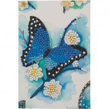 Carta con ricamo a diamante - Crystal Art D.I.Y - Farfalla blu