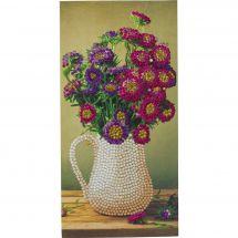 Carta con ricamo a diamante - Crystal Art D.I.Y - Vaso di fiori