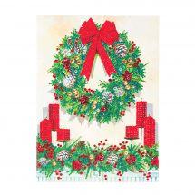 Carta con ricamo a diamante - Crystal Art D.I.Y - Corona di Natale
