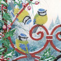 Carta con ricamo a diamante - Crystal Art D.I.Y - Natale Chickadees