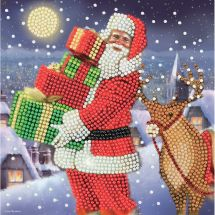 Carta con ricamo a diamante - Crystal Art D.I.Y - I regali di Babbo Natale