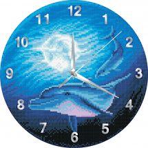 Orologio da ricamo con diamanti - Crystal Art D.I.Y - Orati e luna