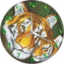 Orologio da ricamo con diamanti - Crystal Art D.I.Y - Mamma tigre e il suo piccolo