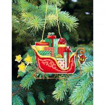 Kit di ornamenti da ricamare - Charivna Mit - Giocattoli di Natale: Slitta