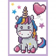 Carta con ricamo a diamante - Diamond Dotz - Piccolo Unicorno