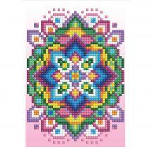 Carta con ricamo a diamante - Diamond Dotz - Mandala sfondo rosa