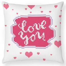 Kit cuscino ricamo diamante - Diamond Dotz - Love you