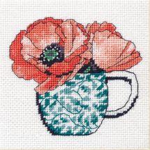 Kit di canovaccio unifilo - Dimensions - Tazza da tè floreale