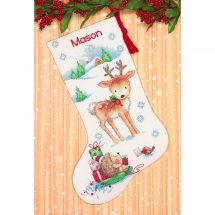Kit calza di Natale da ricamare - Dimensions - Renna e riccio