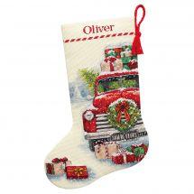Kit calza di Natale da ricamare - Dimensions - Il camion di Babbo Natale
