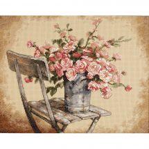 Kit Punto Croce - Dimensions - Rose su sedia bianca