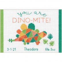 Kit Punto Croce - Dimensions - Registro di nascita di Dino-moth