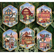 Kit di ornamenti da ricamare - Dimensions - villaggio di Natale