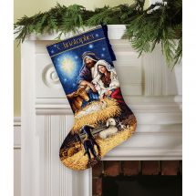 Kit calza di Natale da ricamare - Dimensions - Notte santa