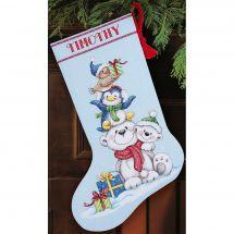 Kit calza di Natale da ricamare - Dimensions - orsacchiotti