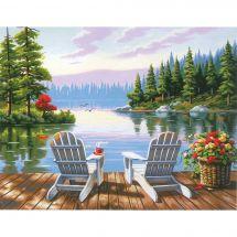 Kit di pittura per numero - Dimensions - Mattina al lago