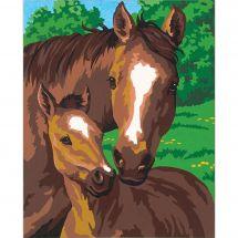 Kit di pittura per numero - Dimensions - Puledro e sua madre