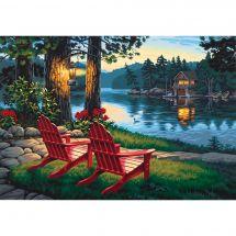 Kit di pittura per numero - Dimensions - Serata sul lago