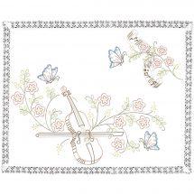 Kit Tovagliette da ricamare - Luc Créations - Violino e farfalle