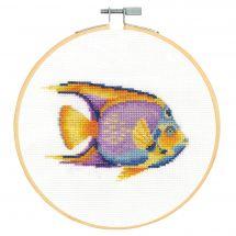 Kit punto croce con tamburo - DMC - Pesce tropicale