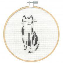 Kit punto croce con tamburo - DMC - Gatto pensoso