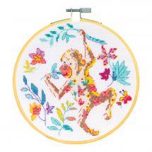 Kit punto croce con tamburo - DMC - La scimmia