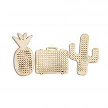 Supporto gioielli - DMC - 3 ciondoli in legno da ricamare