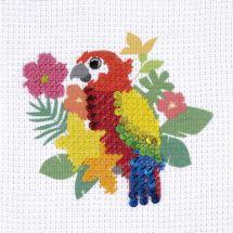 Kit punto croce per bambini con tamburo - DMC - Il pappagallo
