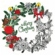 Tela predisegnata - Zenbroidery - Corona di Natale