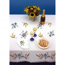 Kit tovaglia da ricamo - Luc Créations - Piccoli fiori e mimose