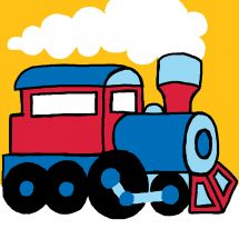 Kit di tela per bambini - Luc Créations - treno