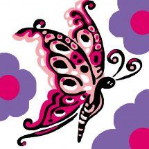 Kit di tela per bambini - Luc Créations - Farfalla rosa