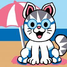Kit di tela per bambini - Luc Créations - Gatto in spiaggia
