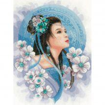 Kit Punto Croce - Lanarte - Donna asiatica in blu