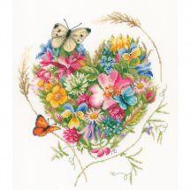 Kit Punto Croce - Lanarte - Un cuore di fiori