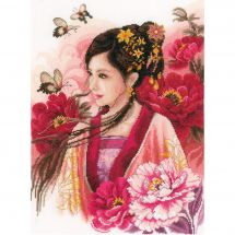 Kit Punto Croce - Lanarte - Donna asiatica in rosa