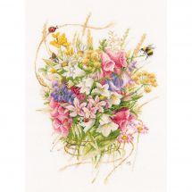 Kit Punto Croce - Lanarte - Mazzo di fiori estivi