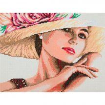 Kit ricamo diamante - Lanarte - Donna al cappello