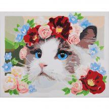 Kit di pittura per numero - Lanarte - Ragdoll - Corona di fiori