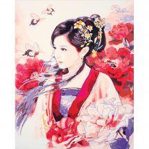 Kit di pittura per numero - Lanarte - Donna asiatica in rosa