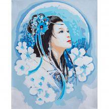Kit di pittura per numero - Lanarte - Donna asiatica in blu