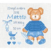 Kit Punto Croce - Le Bonheur des Dames - Cuscino da ricamare orsetto blu